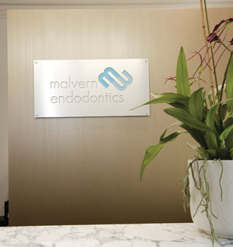 Malvern Endodontics logo inside office